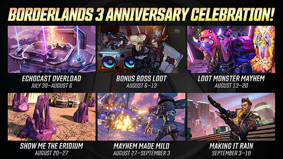 Borderlands 3 celebrará su primer aniversario con 6 mini-eventos 2