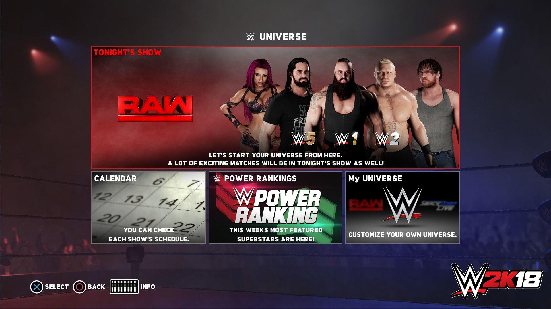 WWE 2K18 Universe Mode Details