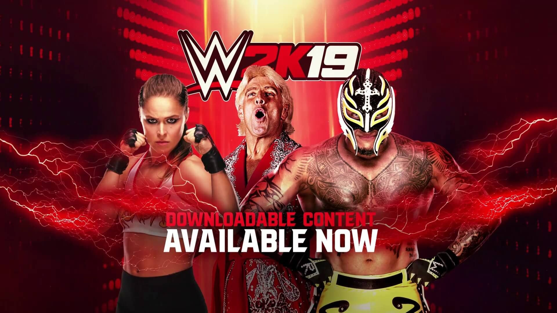 Ronda Rousey, Rey Mysterio, and Ric Flair WWE 2K19